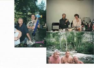 слева фото - день города Новосибирск в Первомайском сквере UA9OA, RO9O. внизу Игорь Шлык, RO9O, UA9OA на реке Катунь в Горном Алтае